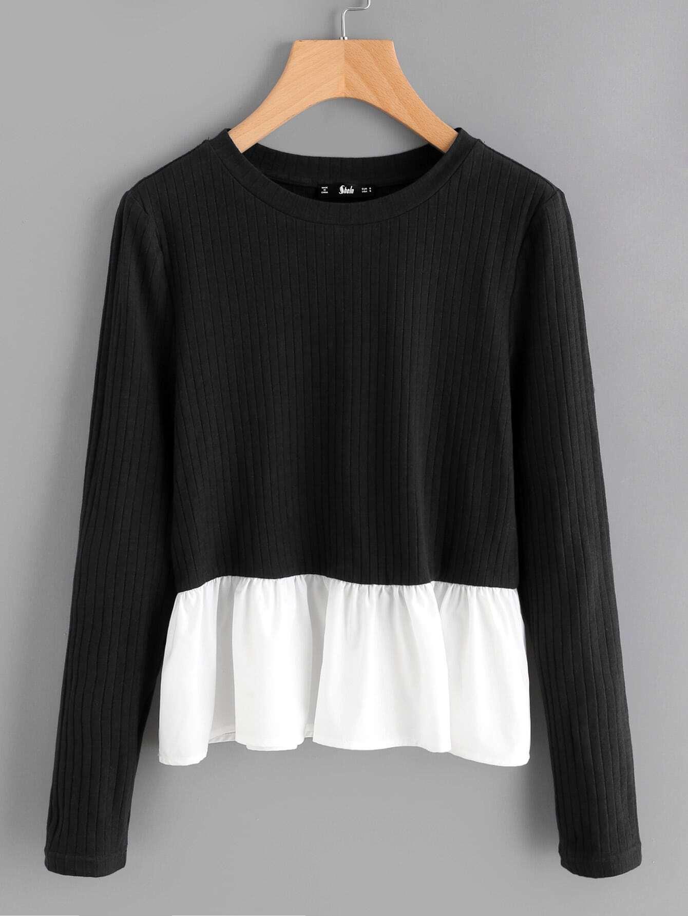 Contrast Frill Trim Rib Knit T-shirt tee170927706