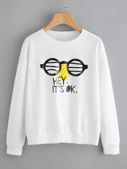 Drop Shoulder Graphic Print Sweatshirt