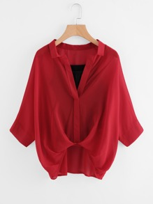 Batwing Sleeve Chiffon Blouse With Cami Top