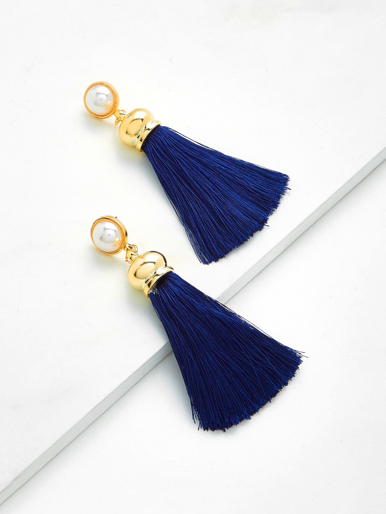 Tassel Drop Earrings With Faux Pearl faux pearl rhinestoned oval drop earrings