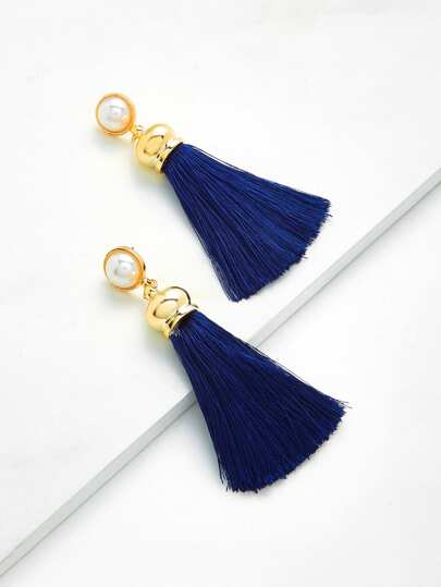 Tassel Drop Earrings With Faux Pearl