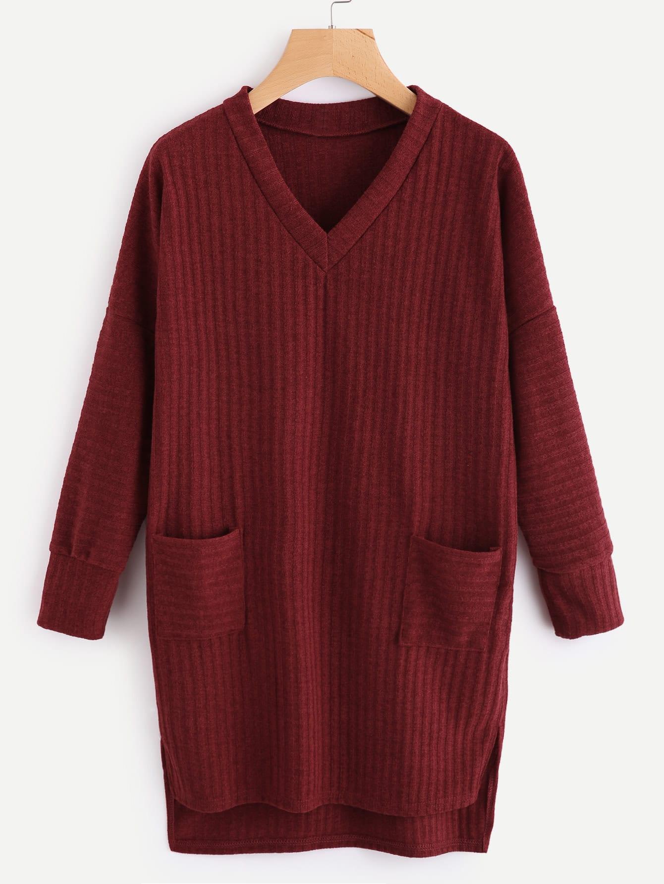 V Neckline Dip Hem Pocket Ribbed Sweater Dress RDRE170905020
