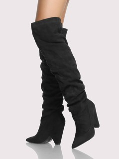 Slouch Point Toe Thigh High Boots BLACK