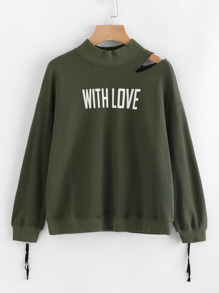 Cutout Shoulder Zip Cuff Graphic Sweatshirt
