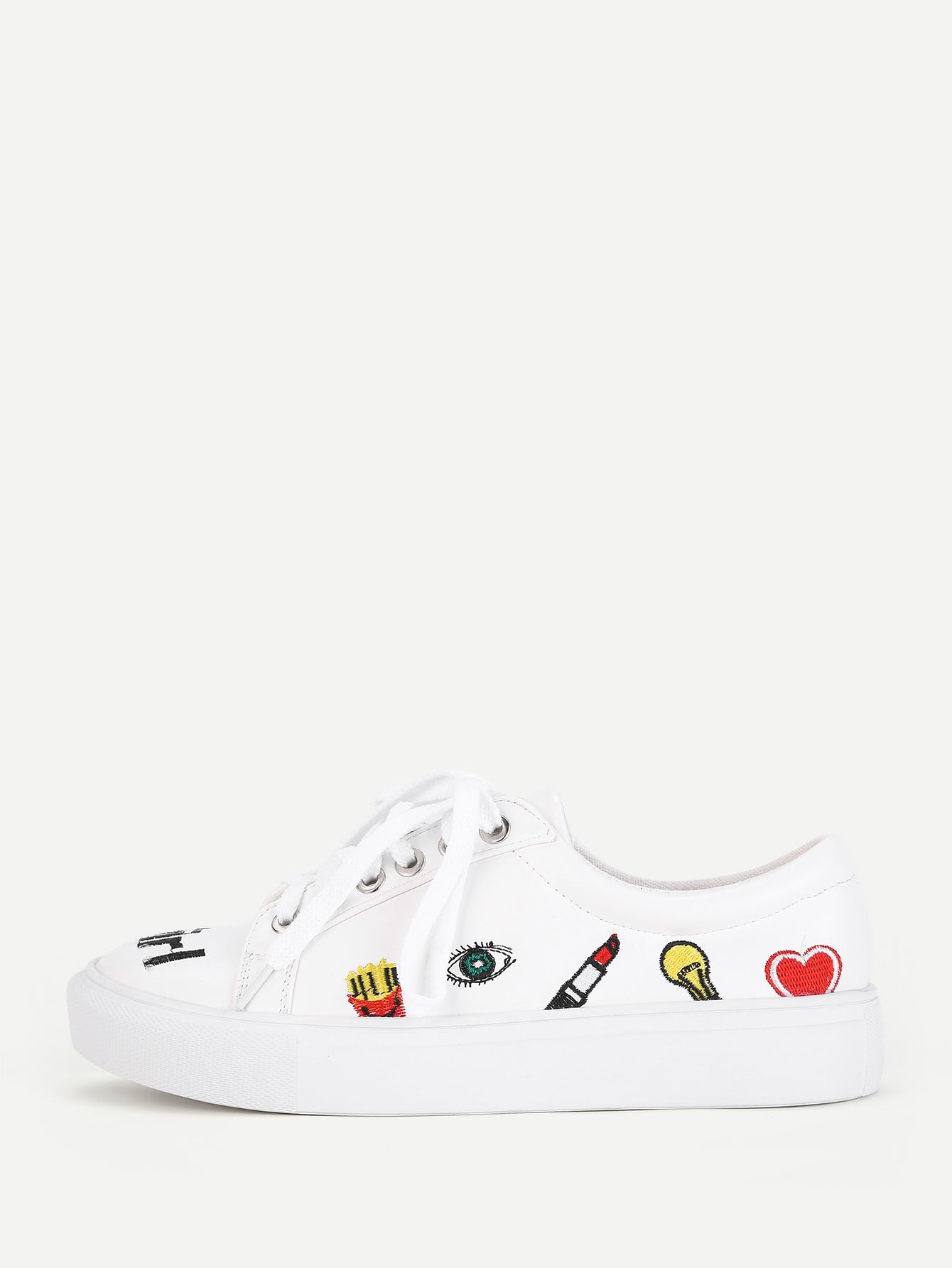 Фото Mixed Embroidery Lace Up Sneakers