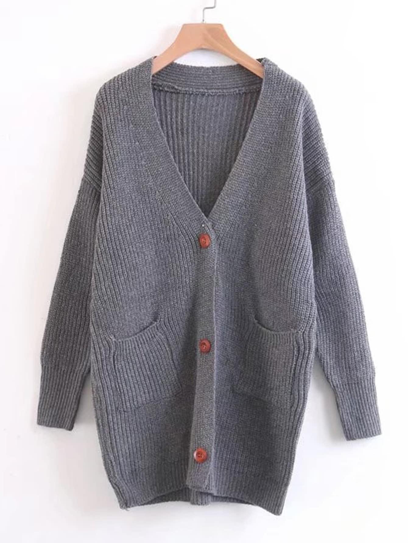 Longline Ribbed Knit Cardigan sweater170925203
