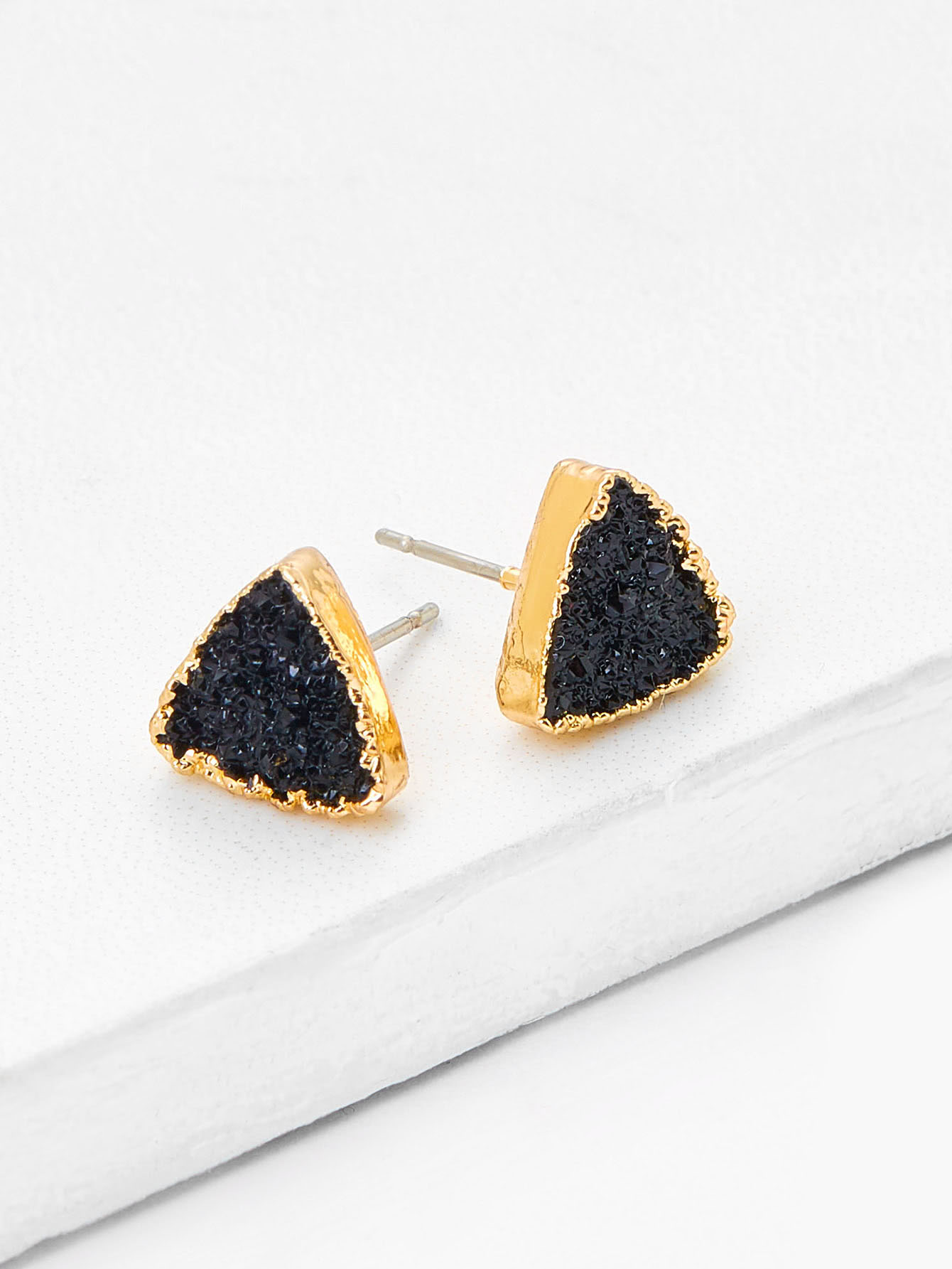 Image of Contrast Triangle Design Stud Earrings