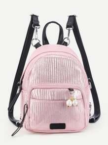 Faux Pearl Detail PU Backpack