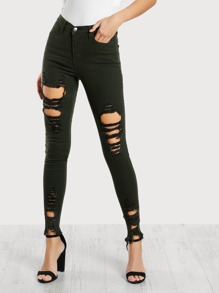 Distressed High Rise Pants GREEN