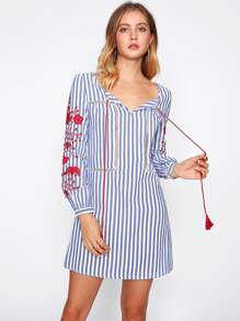Embroidered Sleeve Contrast Stripe Dress