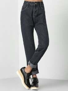 Jeans boyfriend avec ourlet de manchette