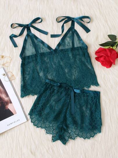 Tie Shoulder Eyelash Lace Cami & Shorts Pj Set