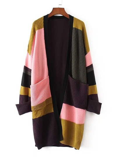 Color Block Front Pocket Longline Cardigan