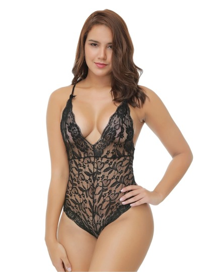 Scalloped Trim Halter Lace Teddy