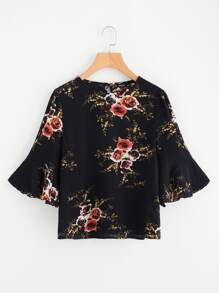 Buttoned Keyhole Back Fluted Sleeve Top