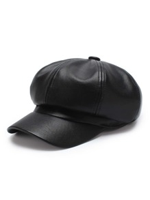 Faux Leather Elastic Bakerboy Cap