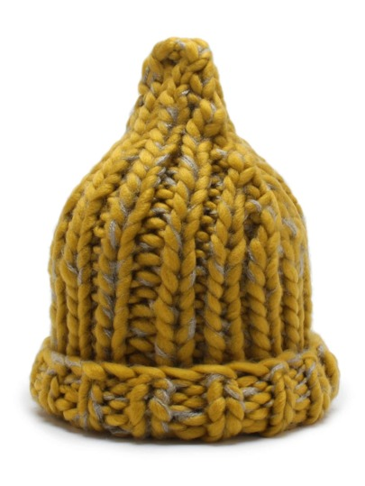 Rolled Brim Cable Knit Beanie Hat