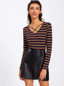 Crisscross V Neck Striped Tee