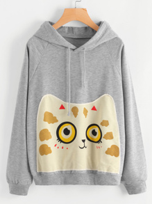 Cartoon Cat Patch Marled Hoodie
