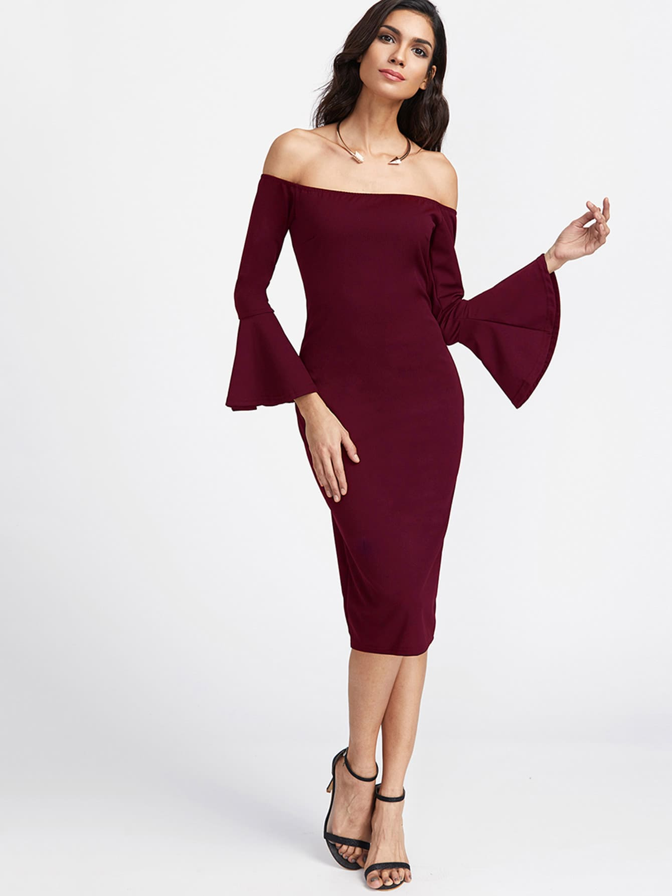 Bardot Fluted Sleeve Slit Back Dress hollow cut fluted sleeve bardot blouse