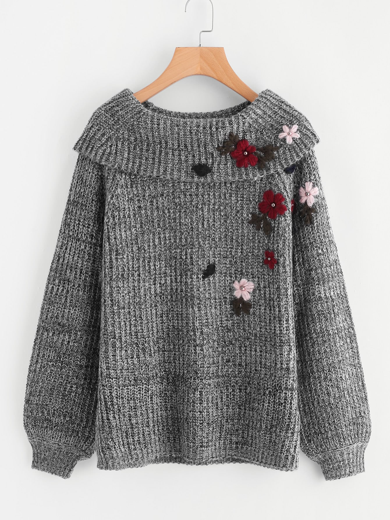 Foldover Neck Flower Embroidered Distressed Jumper embroidered flower patch jumper