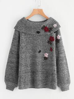 Foldover Neck Flower Embroidered Distressed Jumper