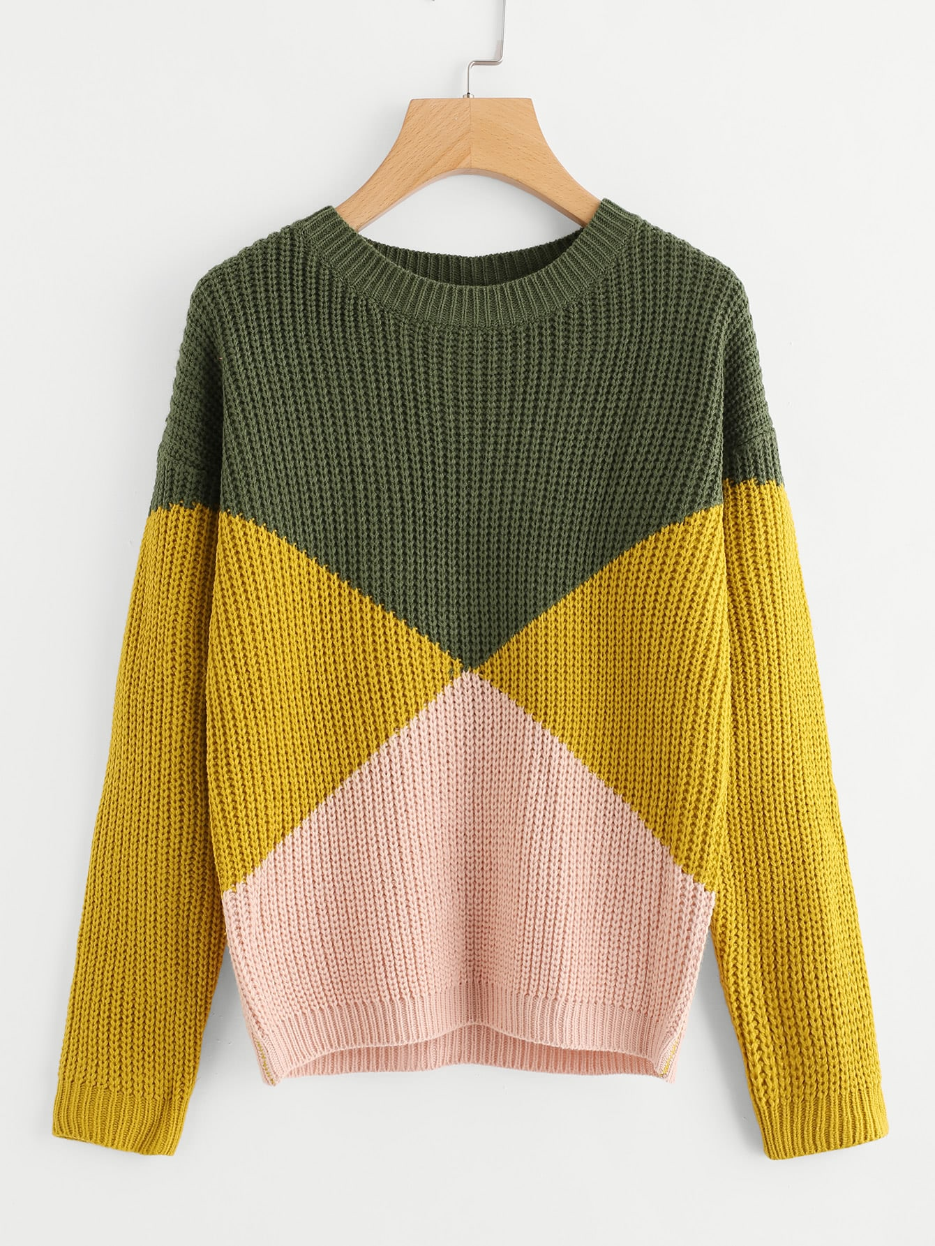 Cut And Sew Chunky Knit Sweater -SheIn(Sheinside)