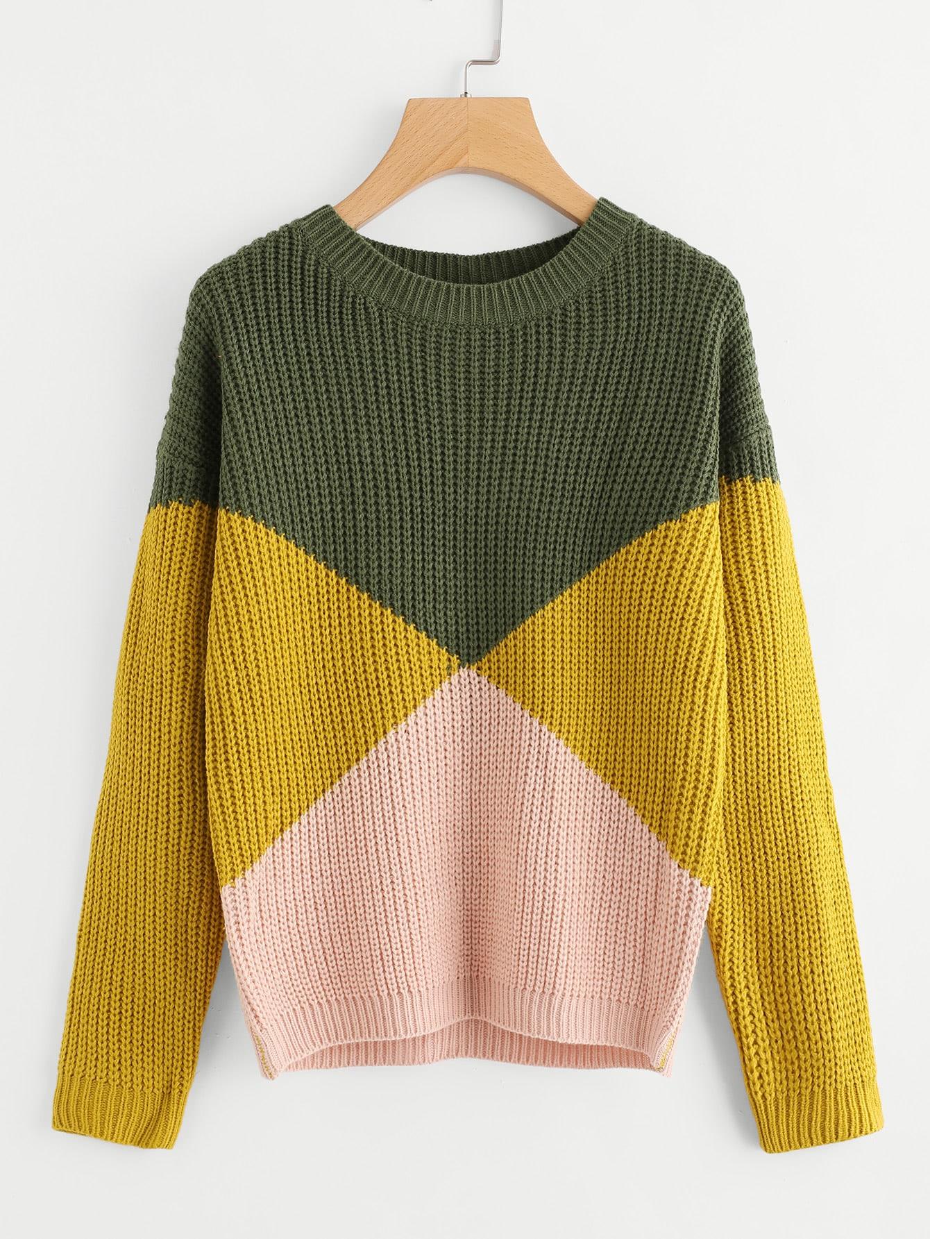 Cut And Sew Chunky Knit Sweater -SheIn(Sheinside)