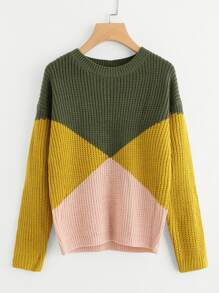Cut And Sew Chunky Knit Sweater