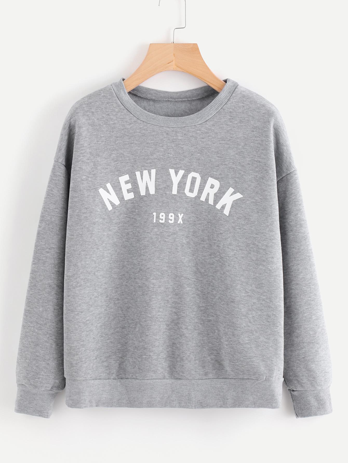 Letter Print Drop Shoulder Marled Pullover two tone drop shoulder sweatshirt