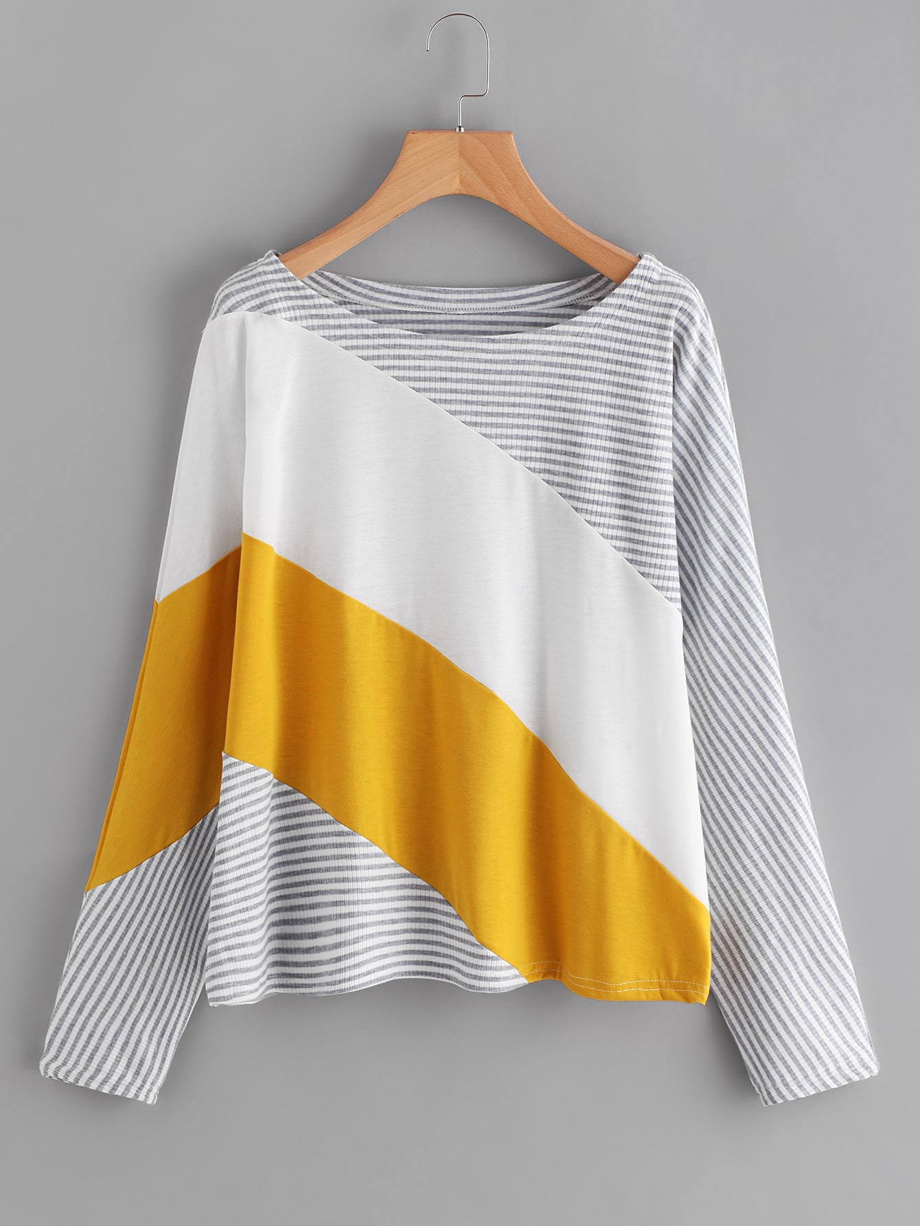 Cut And Sew Striped Tee striped cut and sew curved hem tee