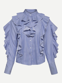 Exaggerated Flounce Pinstripe Blouse