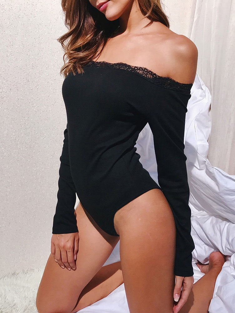 Lace Trim Off Shoulder Bodysuit