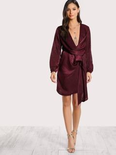 Front Twist Satin Split Sleeve Dress RUBY
