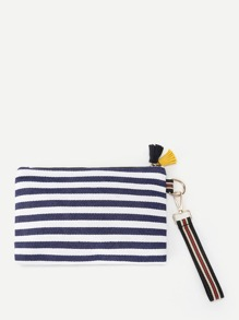 Tassel Detail Striped Print Clutch Bag