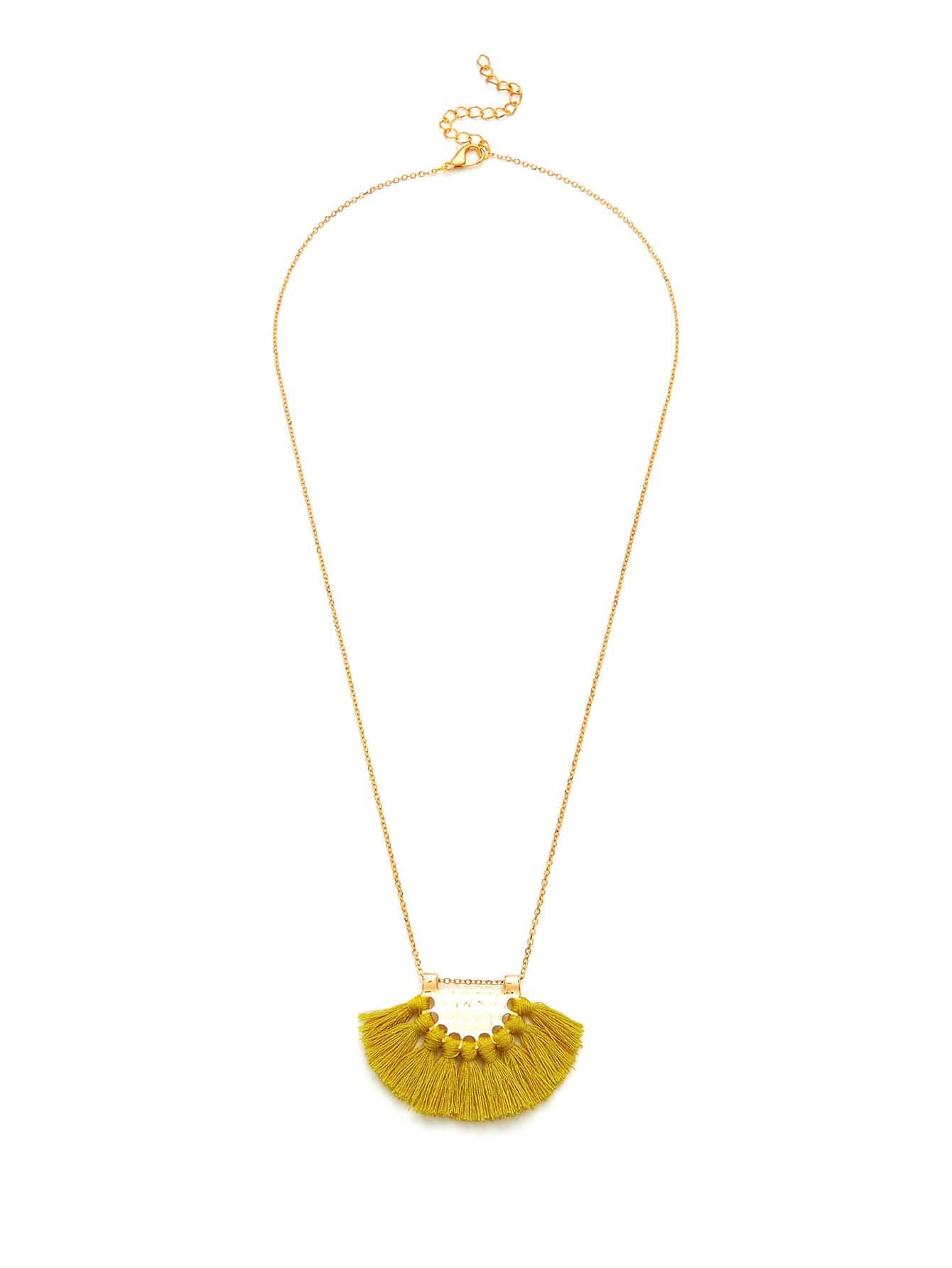 Fan Shaped Tassel Pendant Chain Necklace