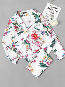 Revere Collar Botanical Print Blouse And Pants Pajama Set