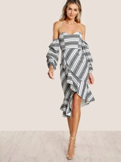 Sweetheart Bardot Sleeve Ruffle Hem Dress STRIPE