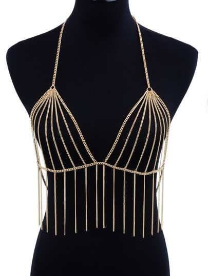 Chain Tassel Bralet Body Harness