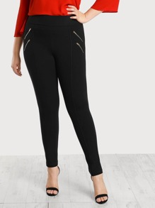 Gold Zipper Accent Piped Pants BLACK