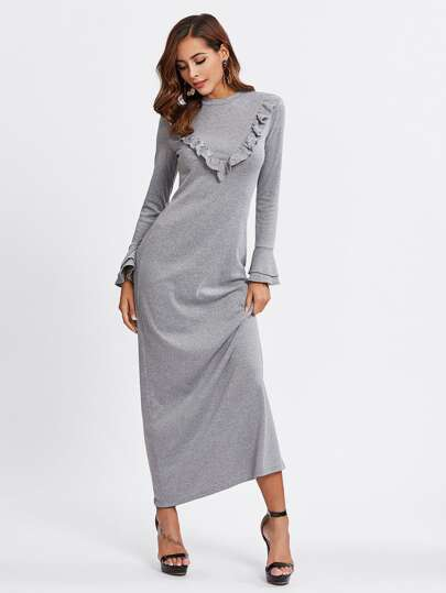 Frilled Detail Tiered Bell Sleeve Tee Dress