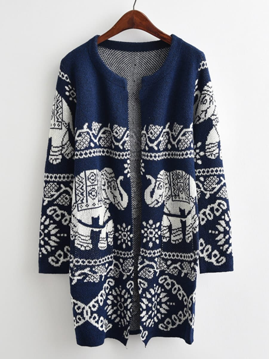 Tribal Knit Open Front Sweater