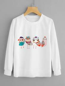 Cartoon Owl Print Sweatshirt