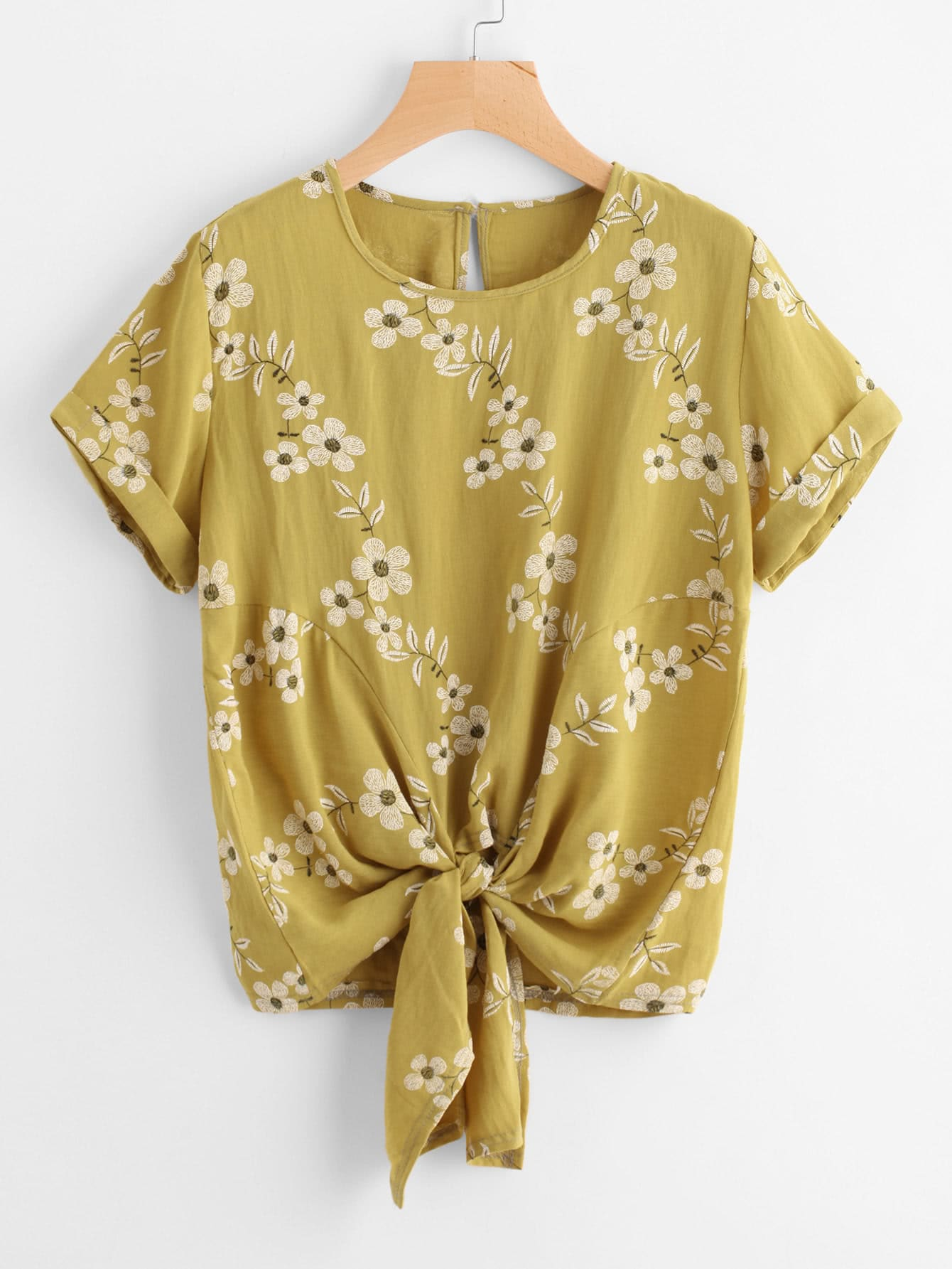 Floral Print Knot Front Cuffed Tee knot front tee