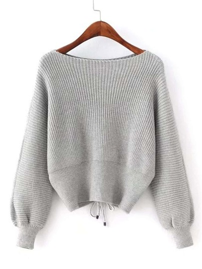 Lace Up Back Boat Neck Sweater