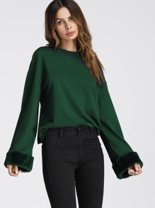 Faux Fur Cuff Drop Shoulder Raw Hem Sweatshirt
