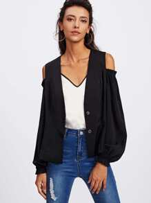 Lantern Sleeve Shirred Open Shoulder Blazer