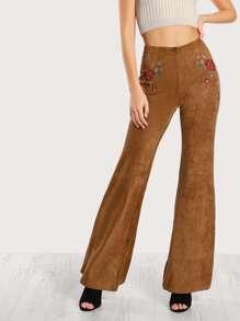 Floral Stitchwork Velvet Pants CAMEL