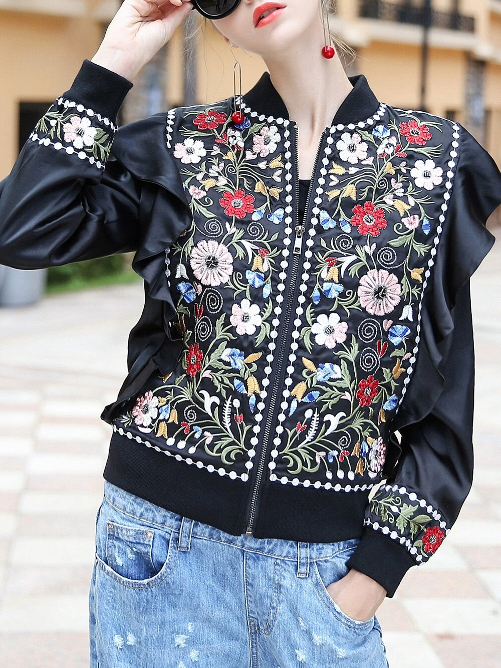 Flowers Embroidered Ruffle Zipper Jacket