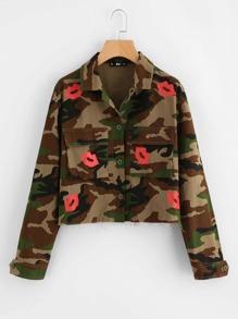 Flap Pocket Red Lip And Camo Print Jacket